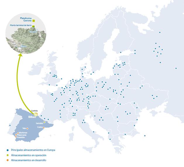 Instalaciones de almacenamiento de gas subterráneo en Europa - Fuente ENAGAS