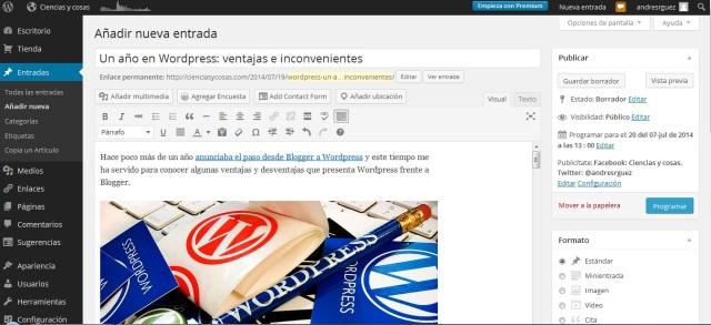 publicacion de entradas en WordPress